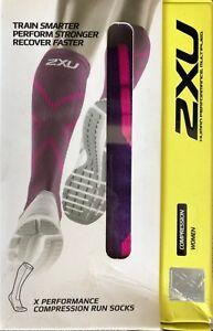 2XU Women Compression performance X socks, Vivid Violet / Pink,  Large