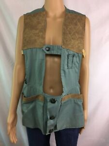 Vintage,Field And Fireside,Hunting,Aqua Blue /Brown Quilted Pads,Vest (SZ Small)