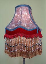 Victorian Bohemian Style Liberty Print Lampshade Handmade Glass Bead Fringe OOAK