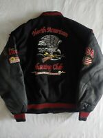 Vintage North American Hunting  Club Life Member Leather Jacket Patches XL Coat