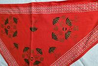 Vtg Triangle Bandana Headscarf Red Asian Beach Theme Umbrellas Chevron Border