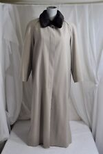 ELEGANT!! Talbots Womens Trench Coat Sz 12 M Tan Coat Long overcoat fur trim