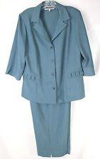NWOT Florentine Petite Career Women's 10P 2pc Beautiful Teal Blazer & Crop Pants
