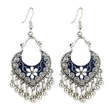 Bohemian Women's Vintage Boho Style Tibetan Carved Beads Tassel Dangle Earrings