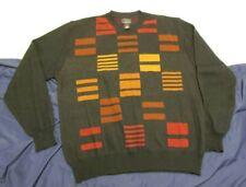 Cezani Pullover Sweater Men's Large VTG black w/pattern