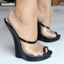 H Summer Women Sexy Clear Transparent Sandal 18cm High Heel Wedges Peep Toe Mule
