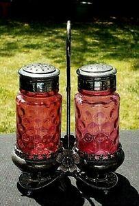 Hobbs Brockunier Glass Inverted Thumbprint Polka Dot Cranberry Salt & Pepper Set