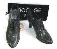 BOCAGE Bottines lacets cuir glacé gris aspect croco 38 TB ETAT & Dust bag