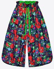 KENZO x H&M Floral Reversible Silk Blend Pants Wide Leg Trousers S/M