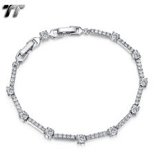 Luxury TT 4mm Width 18K White Gold Filled Wedding Bracelet (CBF18) NEW