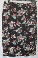 NEW LADIES LAURA ASHLEY DARK CHERRY BLOSSOM  FLORAL  MIDI PENCIL SKIRT 10 -16