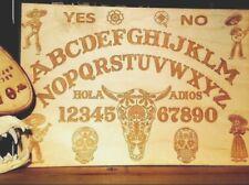 Wooden Ouija Board & Planchette w/ Day of The Dead Sugar Skulls + Día de Muertos