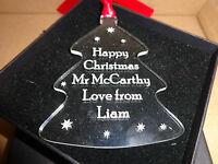 Personalised Teacher Gift Christmas Tree Ornaments Crystal Clear Acrylic