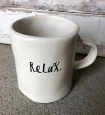 Rae Dunn Relax Cream Coffee Tea Mug Pottery Farmhouse Style