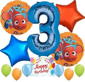 Finding Nemo Party Supplies Balloons Decoration Bundle for 3rd Birthday