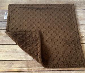 """Bebe Bella Designs Minky Dot Security Blanket Baby Lovey Brown 14"""""""