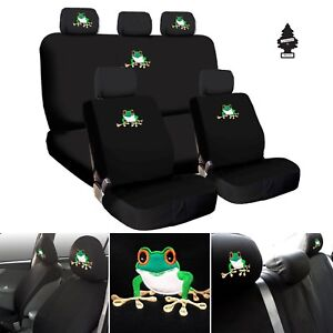 For Jeep New Frog Embroidery Logo Car Seat Covers Headrest Full Set