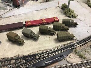 N Scale WW 2 era military army (6) GMC 2.5 ton trucks flat car loads 3 d prints