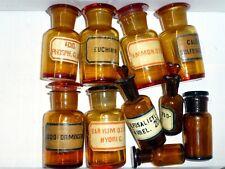 10 alte braune Apotheken Flaschen Glas Schliff Stopfen vintage medicine bottles