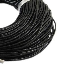1 Meter Lederband 2,5mm (Rindsleder) Schwarz