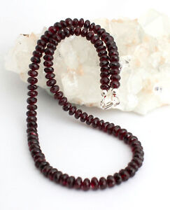 Gorgeous Garnet Necklace Gemstone Faceted Rondelle Red 19 5/16in