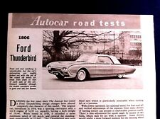 FORD THUNDERBIRD - 6,392cc -1961 - Road Test removed from AUTOCAR