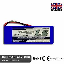 1600mAh 2S 7.4V 20C - 30C Burst Lipo Battery Losi Mini Compatible