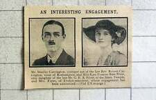 1915 Mr Stanley Carrington Engaged To Kate Fryer