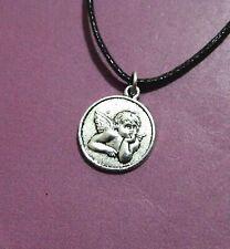 Angel Cherub Archangel Round Antique Silver Pendant Adjustable Necklace