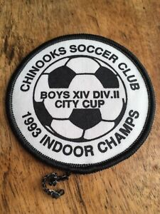 """Vtg 3"""" Chinooks Soccer Club Patch Calgary Alberta Canada 1993 Champs City Cup"""