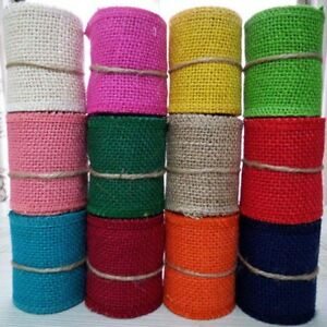 Natural Jute Hessian Burlap Ribbon Rustic Weddings Belt Strap Craft 6cm