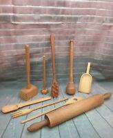 9 Piece Wood Kitchen Utensils - Vintage Lot