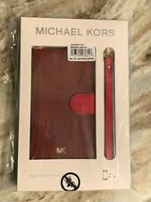 NWT Two-Tone Saffiano Leather Wristlet Folio Case for iPhone X/XS - BRANDY