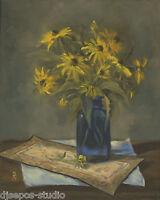 """Rudbeckia In Blue"" Debra Sepos original oil 8 x 10"" black-eyed susan still life"