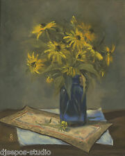 """Rudbeckia In Blue"" Debra Sepos original oil 8 x 10"" black-eyed susan still life"