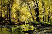 Oil painting johannes boesen - reflections in a stream brook crossing forest art