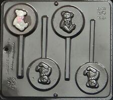 Teddy Bear Lollipop Chocolate Candy Mold Baby Shower  632 NEW