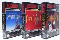 Final Fantasy II 2, III 3, and Mystic Quest - SNES Custom Cases - *NO GAMES*