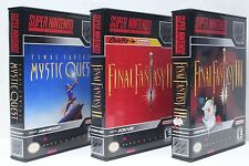 Final Fantasy II 2, III 3, and Mystic Quest - SNES Custom Cases - *NO GAMES*