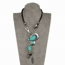 Genuine Turquoise Teardrop Beads Butterfly Bib Collar Bridal Pendant Necklace