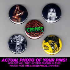 """THE CRAMPS - 1.5"""" PINS / BUTTONS (gig poster badge lp lux interior poison ivy)"""