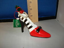 High Heel Ornament Red and Black with Pearls TD1188B 60