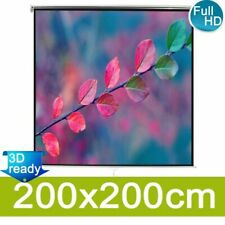 Manual Projection Screen 200x200 Mat White Wall Ceiling Mount Home Cinema