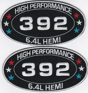 6.4L BLACK WHITE 392 SEW/IRON ON PATCH EMBROIDERED HEMI CHARGER CHALLENGER SRT