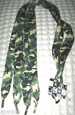 Premium Flat Green Camo Camouflage Design Rockabilly Punk Shoe laces Shoelaces
