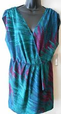 Apt 9 Animal Print Reg Size L Green Sleeveless Faux Wrap Dress SR $64 NEW