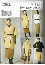 Easy Jackets Top Straight Skirt Pants Vogue Wardrobe Sewing Pattern 8 10 12 14