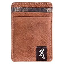 Browning Mossy Oak Camo Leather Front Pocket Billfold Wallet Money Clip
