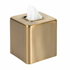 mDesign Modern Square Metal Paper Facial Tissue Box Cover Holder - Soft Brass