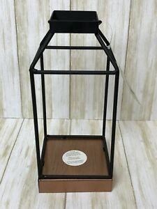 "10"" Mallory Metal Indoor & Outdoor Lantern with No Glass Black - Smart Living"